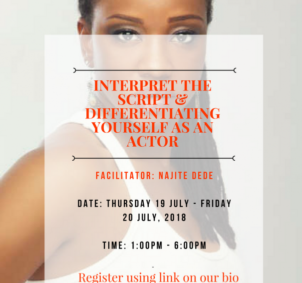 "Najite Dede to facilitate Auditions.ng acting training, ""Interpret the Script and Differentiating yourself as an actor"", this July!"