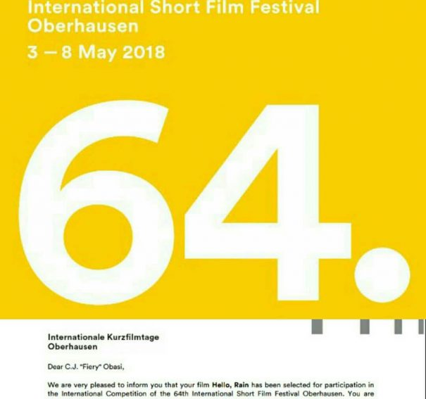'Hello, Rain' Set To Premiere At The International Kurzfilmtage Oberhausen!